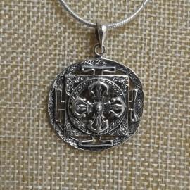 "Colgante de plata ""Doble Dorje en Mandala"" en relieve- Colgplat5"