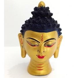Cabeza de Buda terracota dorada 10 cms.